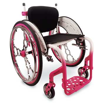 Glossy, custom colored accents and handrims on a wheelchair